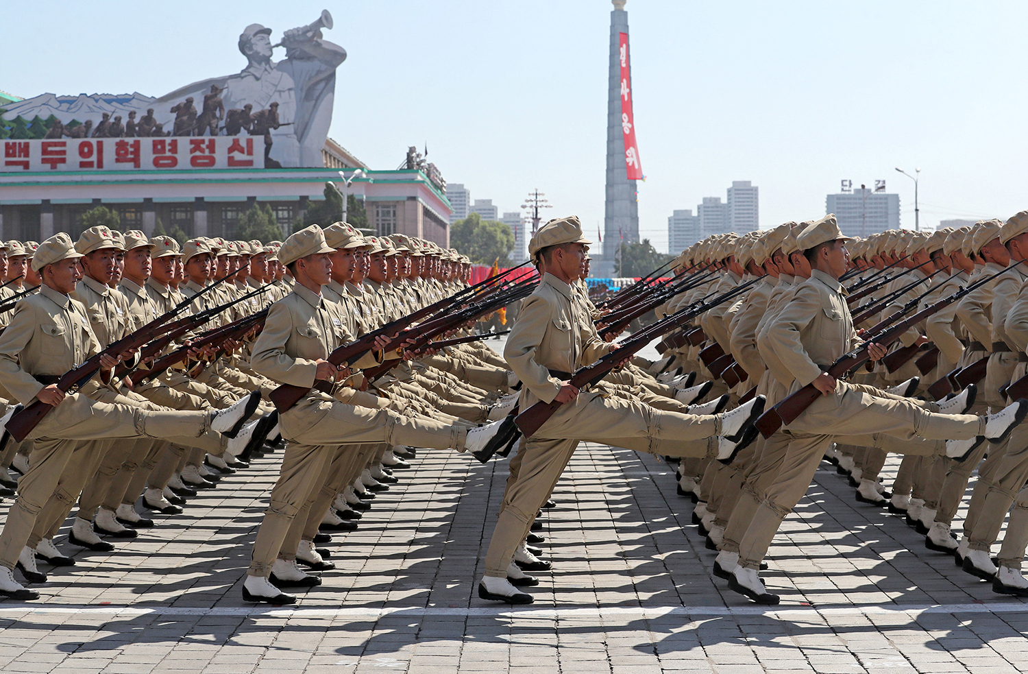 Troops march during a military parade marking the 70th anniversary of the foundation of North Korea in Pyongyang, North Korea on Sunday, Sept. 9, 2018. (Alexander Demianchuk/Tass/Abaca Press/TNS)