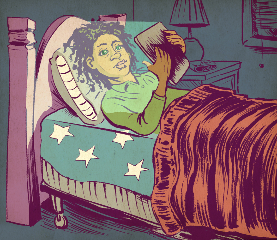 300 DPI Erik Nelson Rodriguez Illustration of a child using a tablet before bed, affecting his sleep. TNS 2017
