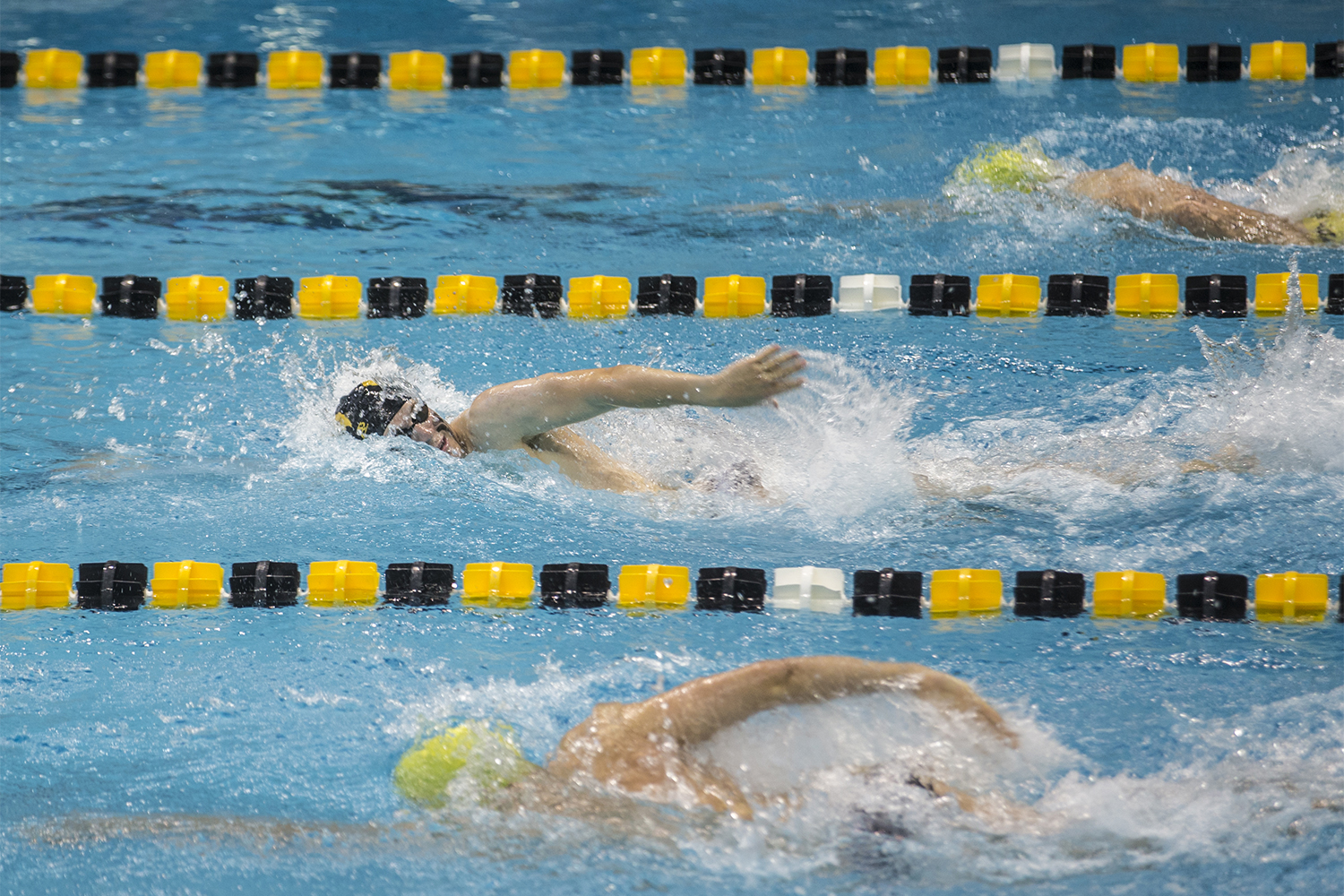 Swimmers+compete+in+the+200+meter+freestyle+race+during+the+Iowa+Swimming+and+Diving+Intrasquad+Meet+at+the+Campus+Recreation+and+Wellness+Center+on+Saturday%2C+September+29%2C+2018.+