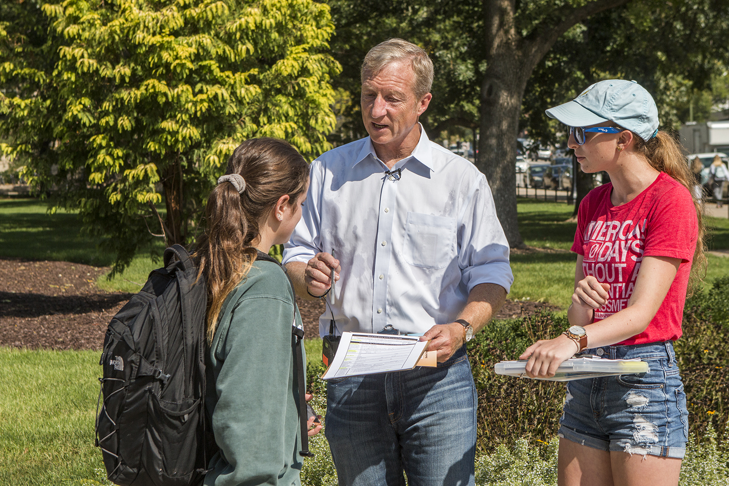 NextGen Founder Tom Steyer discusses voting with students at the Pentacrest on Thursday, Sept. 20, 2018. The organization works to engage students and to help them register to vote in November.