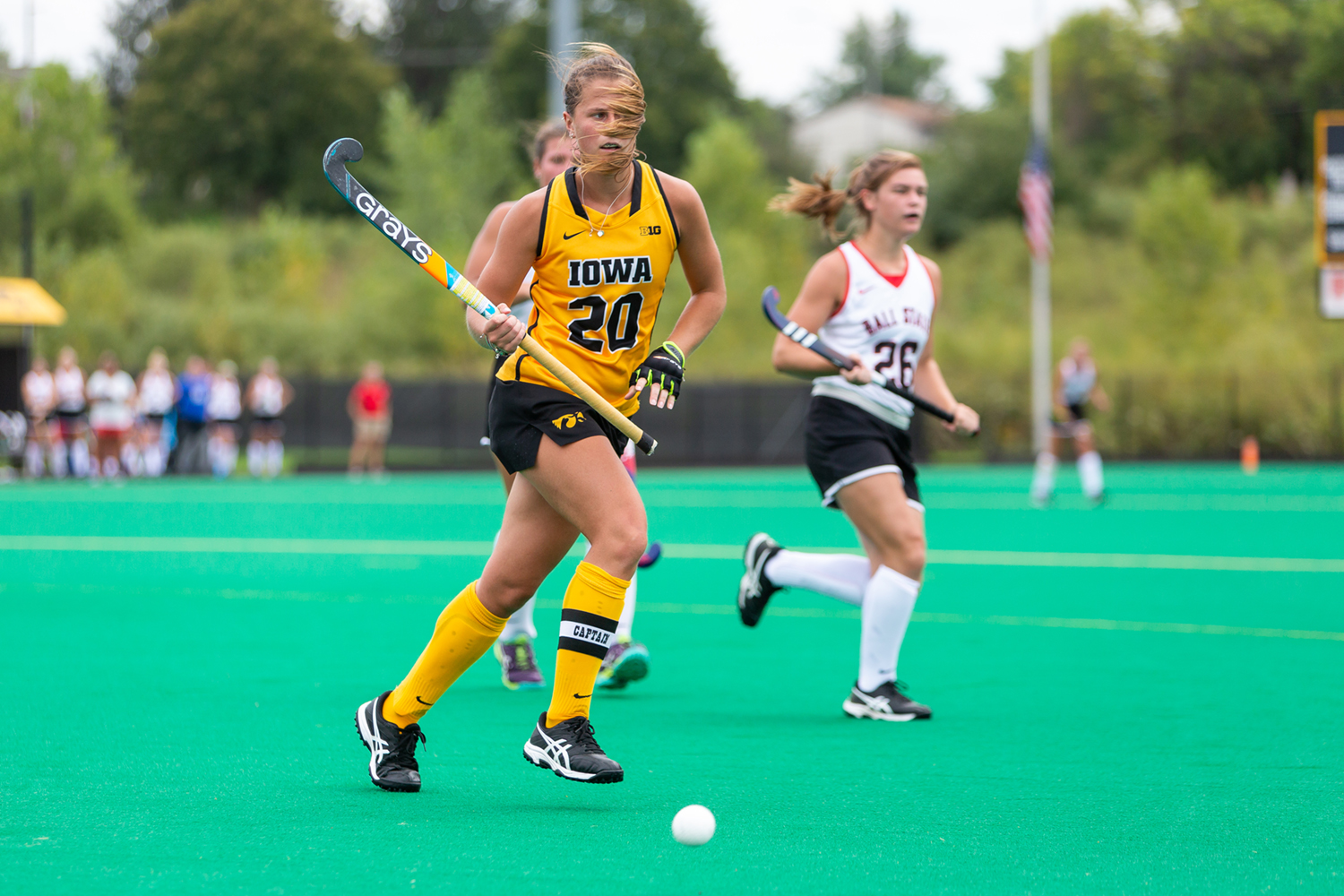 Iowa's Sophie Sunderland chases down the ball during a game against Ball State on Sunday, Sept. 2, 2018. The Hawkeyes defeated the Cardinals 7–1.