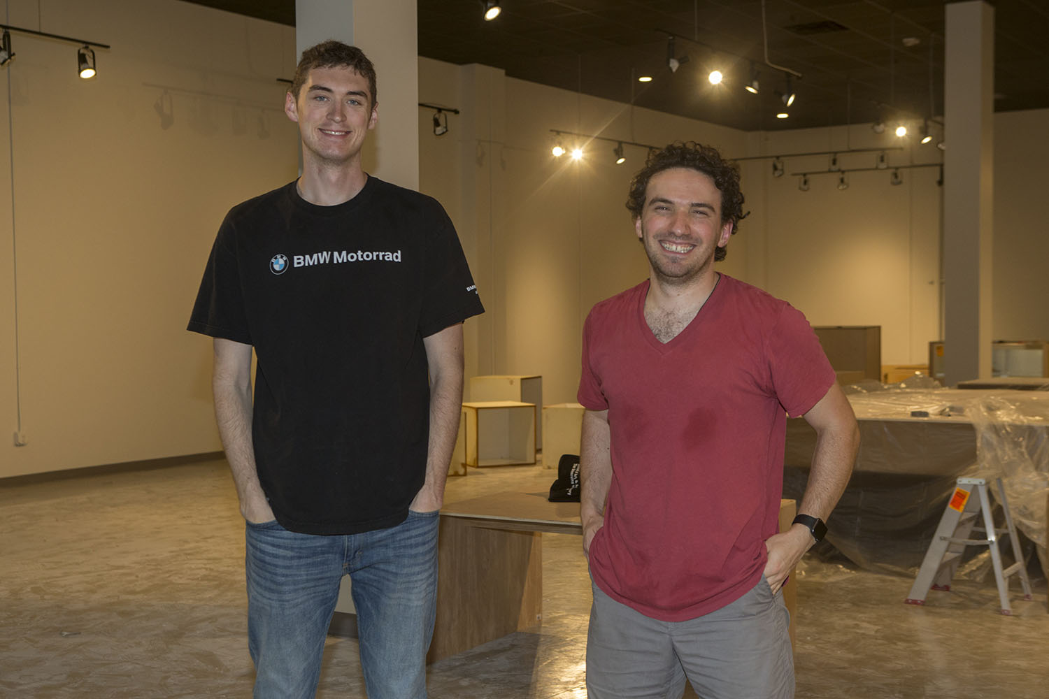 Senior Patrick Hagan, originally from Iowa City, and recent graduate Vako Darjania, originally from the Republic of Georgia, pose for a portrait in their retail space located in Iowa River Landing, Coralville on Sept. 5, 2018. This business will be run as a collaborative retail space for eight undergraduate students and will sell a variety of different products.