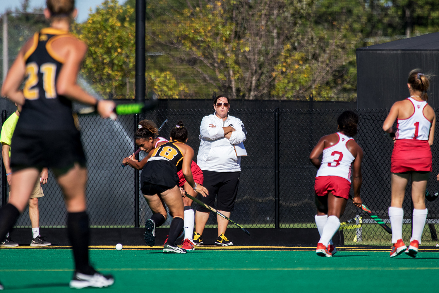 Head Coach Lisa Cellucci watches from the sideline as the Iowa Field Hockey team plays Indiana on Friday, Sept. 29, 2017. Iowa won the match 4-3.