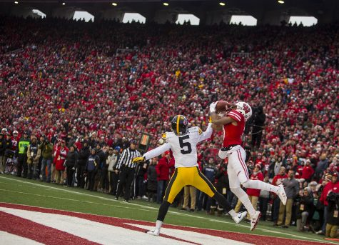 Wisconsin wide receiver Kendric Pryor catches a touchdown pass during Iowa's game against Wisconsin at Camp Randall Stadium on Saturday, Nov. 11, 2017. The badgers defeated the Hawkeyes 38-14.