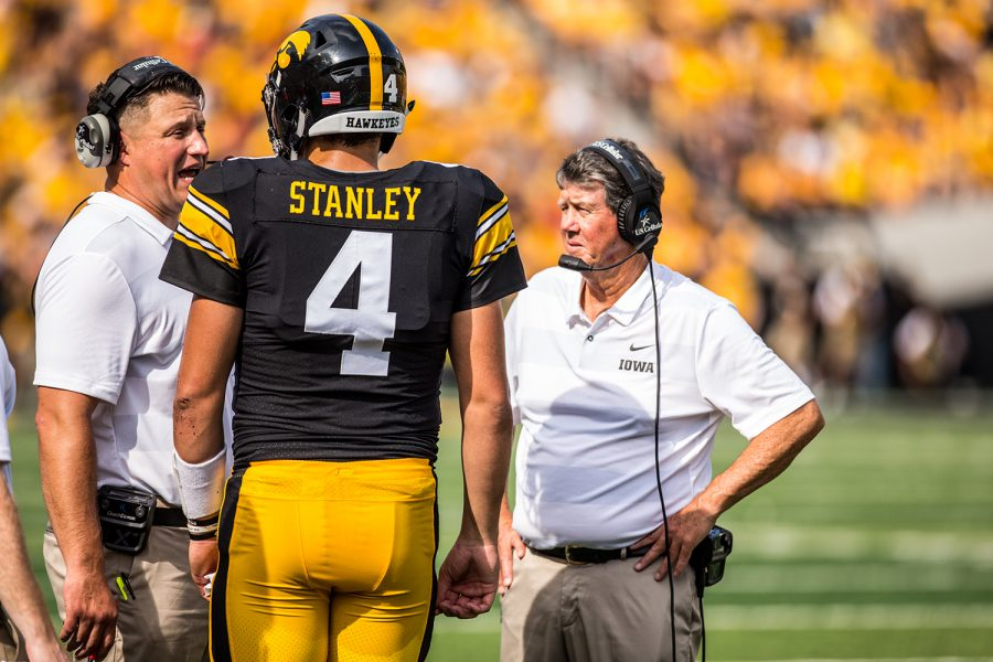 Iowa+quarterback+Nate+Stanley+talks+with+offensive+coordinator+Brian+Ferentz+during+Iowa%27s+game+against+Northern+Illinois+at+Kinnick+Stadium+on+Saturday%2C+Sept.+1%2C+2018.+The+Hawkeyes+defeated+the+Huskies+33-7.