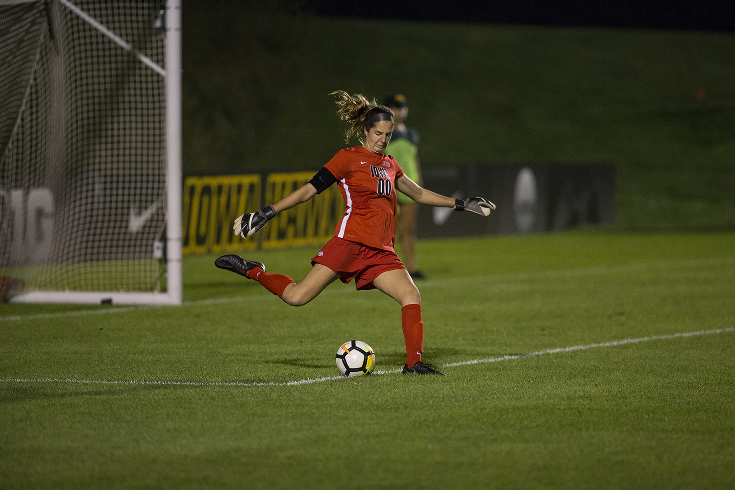 Sophomore Cora Meyer kicks the ball back in play during the Iowa vs. Purdue soccer game on Sept. 20, 2018 at the Iowa Soccer Complex in Iowa City. Iowa tied Purdue 1-1 in overtime.