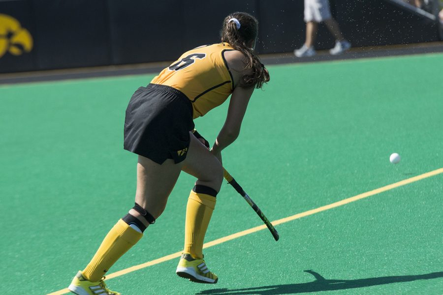 Iowa's Anthe Nijziel receives the ball during the Indiana field hockey game on Sunday, Sept. 16 2018. The Hawkeyes defeated the Hoosiers (3-0), and have now won six consecutive games.