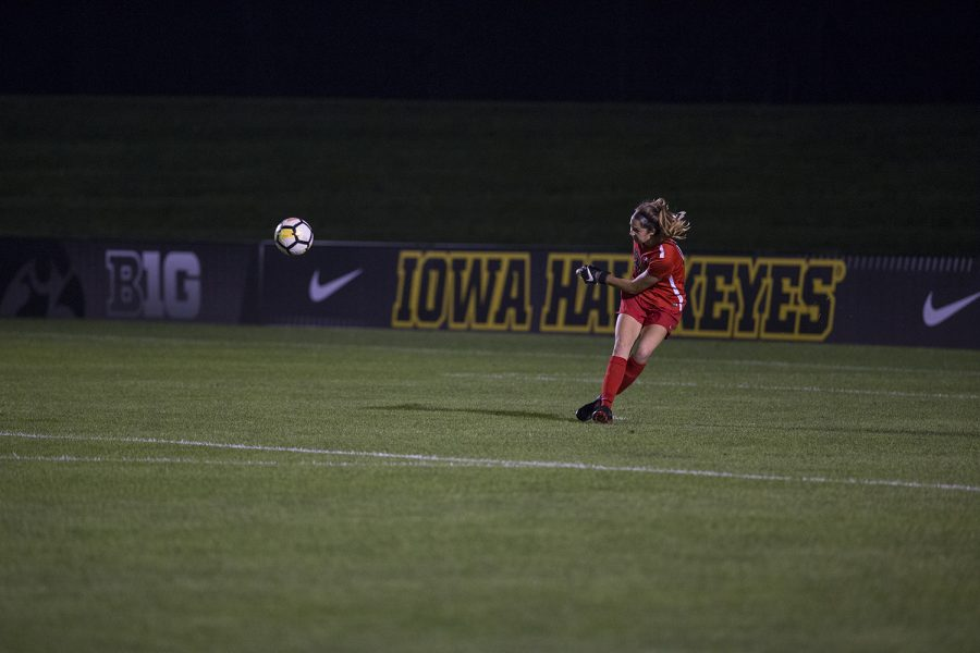 Sophomore+Cora+Meyer+kicks+the+ball+during+the+Iowa+vs.+Purdue+soccer+game+on+Sept.+20%2C+2018+at+the+Iowa+Soccer+Complex+in+Iowa+City.+Iowa+tied+Purdue+1-1+in+overtime.+