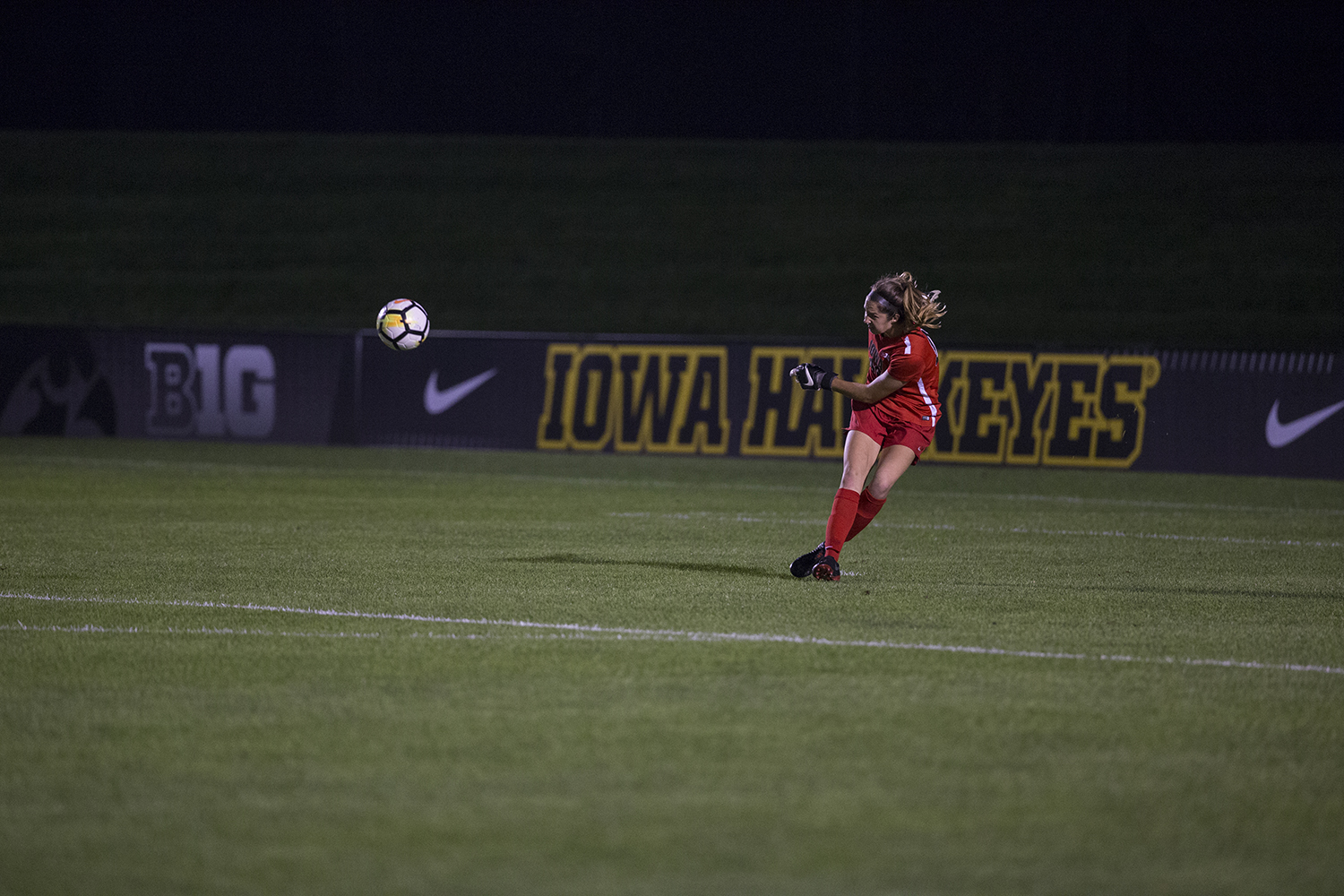 Sophomore Cora Meyer kicks the ball during the Iowa vs. Purdue soccer game on Sept. 20, 2018 at the Iowa Soccer Complex in Iowa City. Iowa tied Purdue 1-1 in overtime.