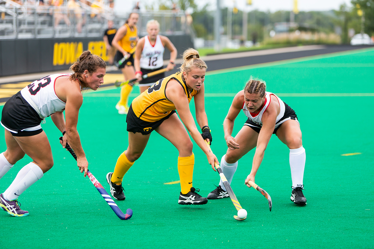 Iowa's Leah Zellner fights for control of the ball during a field hockey match against Ball State on Sunday, Sept. 2, 2018. The Hawkeyes defeated the Cardinals 7–1.