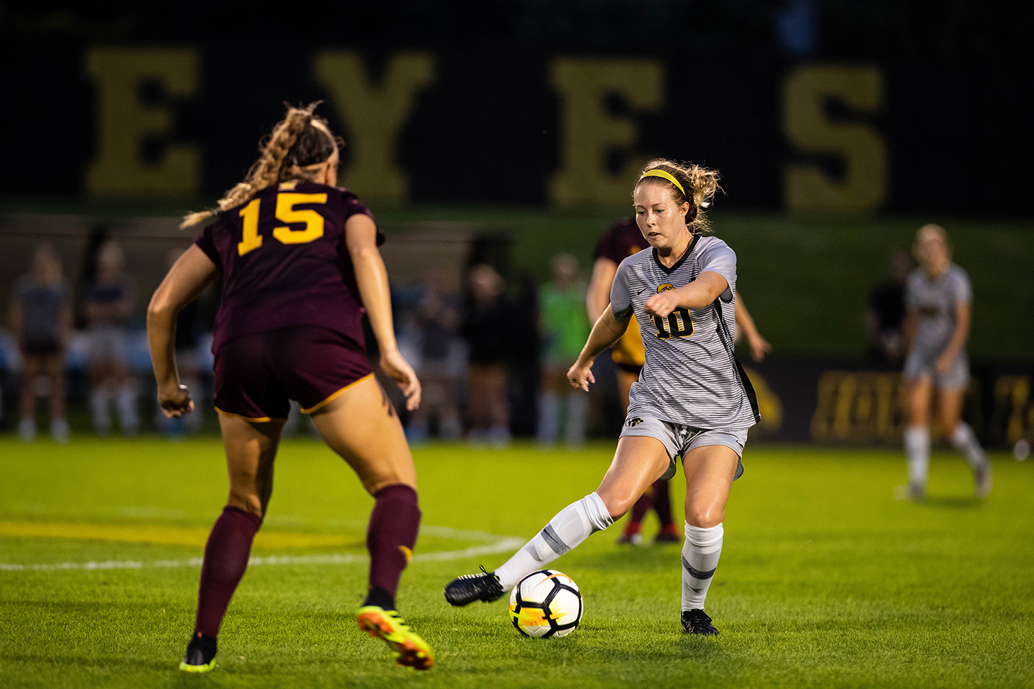 Iowa midfielder Natalie Winters plays a pass during Iowa's game against Central Michigan on Friday, Aug. 31, 2018. The Hawkeyes defeated the Chippewas 3-1. Winters scored the Hawkeyes' third goal on a penalty kick in the second half.