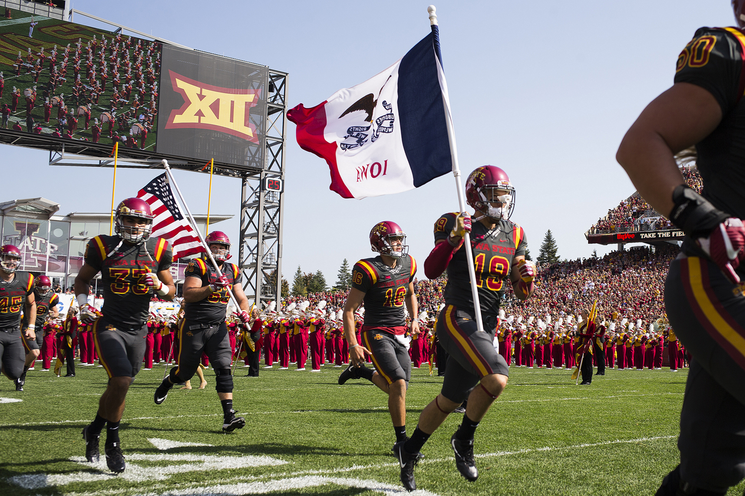 Iowa State players take to the field during the Iowa/Iowa State game for the Cy-Hawk trophy in Jack Trice Stadium on Saturday, Sept. 9, 2017. The Hawkeyes defeated the Cyclones, 44-41, in overtime.