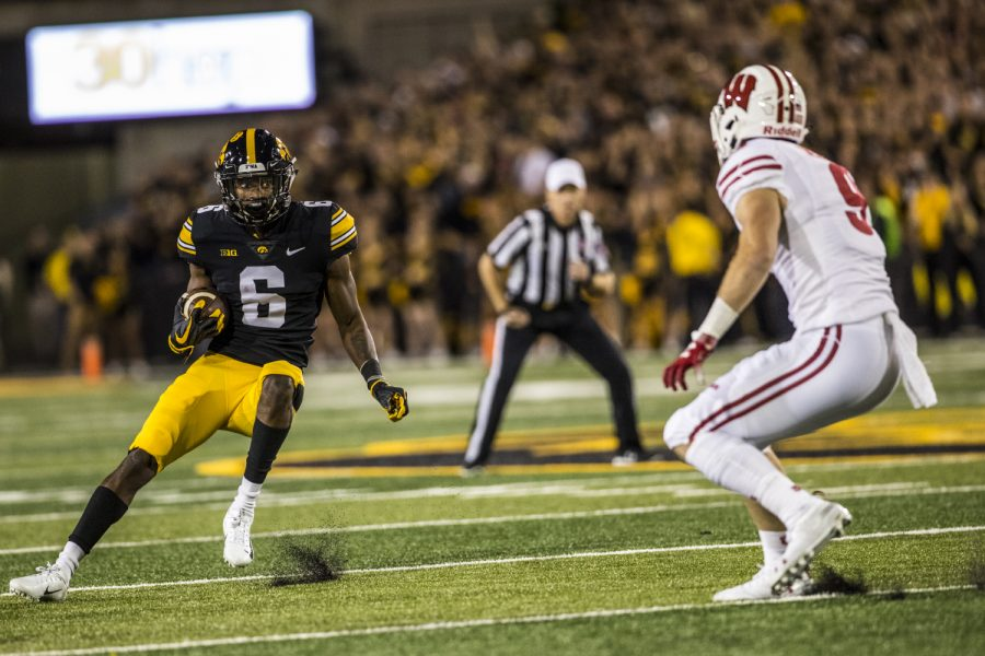 Iowa+wide+receiver+Ihmir+Smith-Marsette+makes+a+cut+during+Iowa%27s+game+against+Wisconsin+at+Kinnick+Stadium+on+Saturday%2C+Sept.+22%2C+2018.+The+Badgers+defeated+the+Hawkeyes+28-17.
