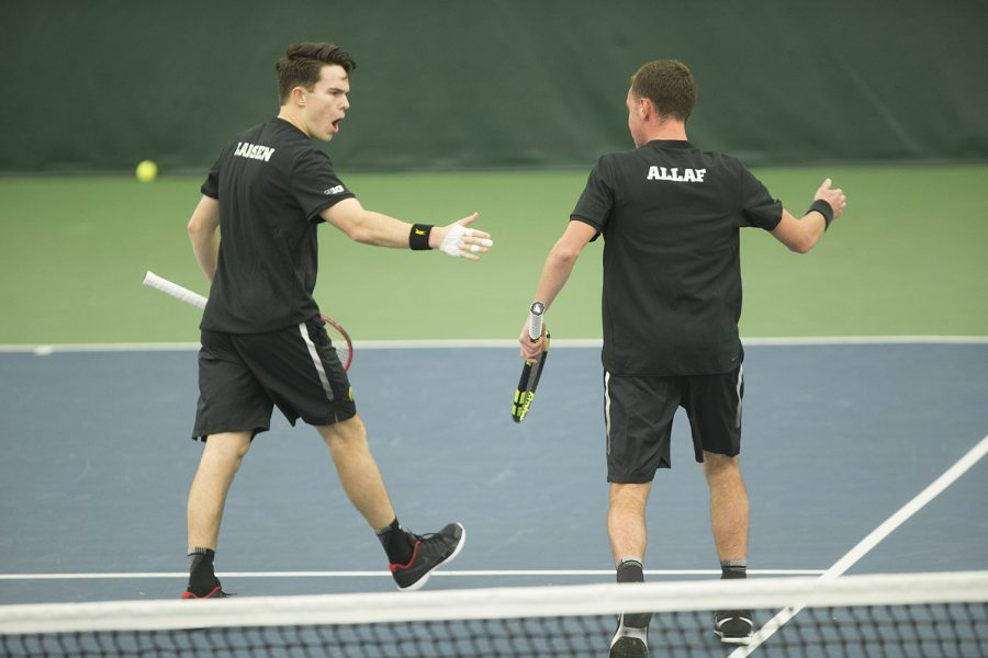 Iowa%27s+Kareem+Allaf+and+Jonas+Larsen+celebrate+during+a+tennis+match+between+Iowa+and+Western+Michigan+in+Iowa+City+on+Friday%2C+Jan.+19%2C+2018.+The+Hawkeyes+earned+the+doubles+point+but+lost+the+match+overall%2C+5-2.