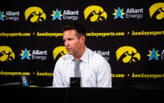 Iowa volleyball head coach Bond Shymansky answers questions after Iowa's match against Michigan at Carver-Hawkeye Arena on Sept. 23, 2018.