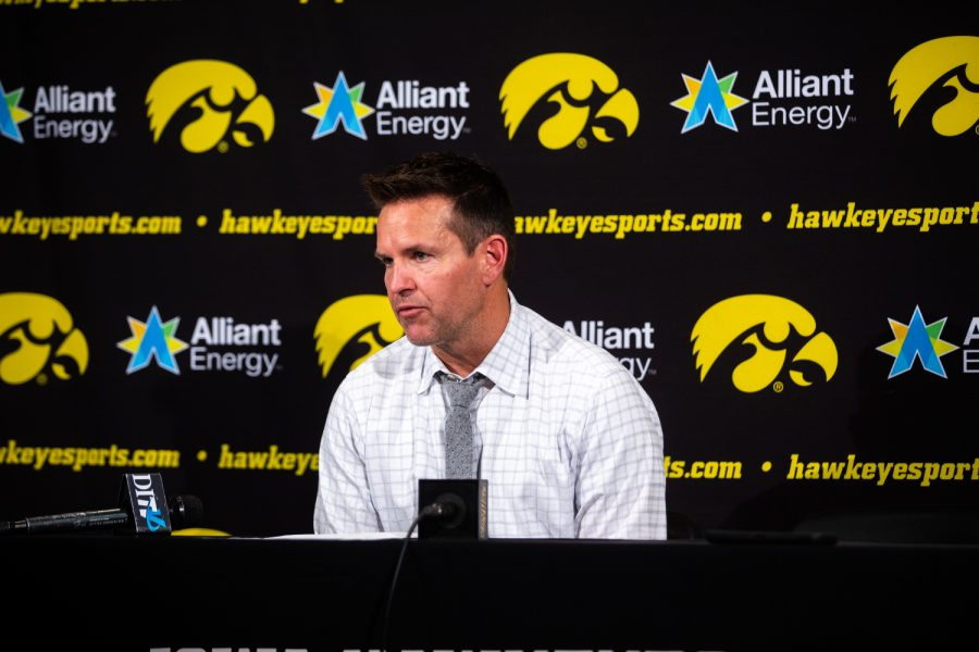 Iowa+volleyball+head+coach+Bond+Shymansky+answers+questions+after+Iowa%27s+match+against+Michigan+at+Carver-Hawkeye+Arena+on+Sept.+23%2C+2018.+