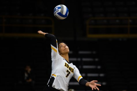 Brie Orr serves the ball during Iowa's match against Eastern Illinois on Sunday, Sept. 9, 2018 at Carver-Hawkeye Arena. The Hawkeyes won the match 3-0.