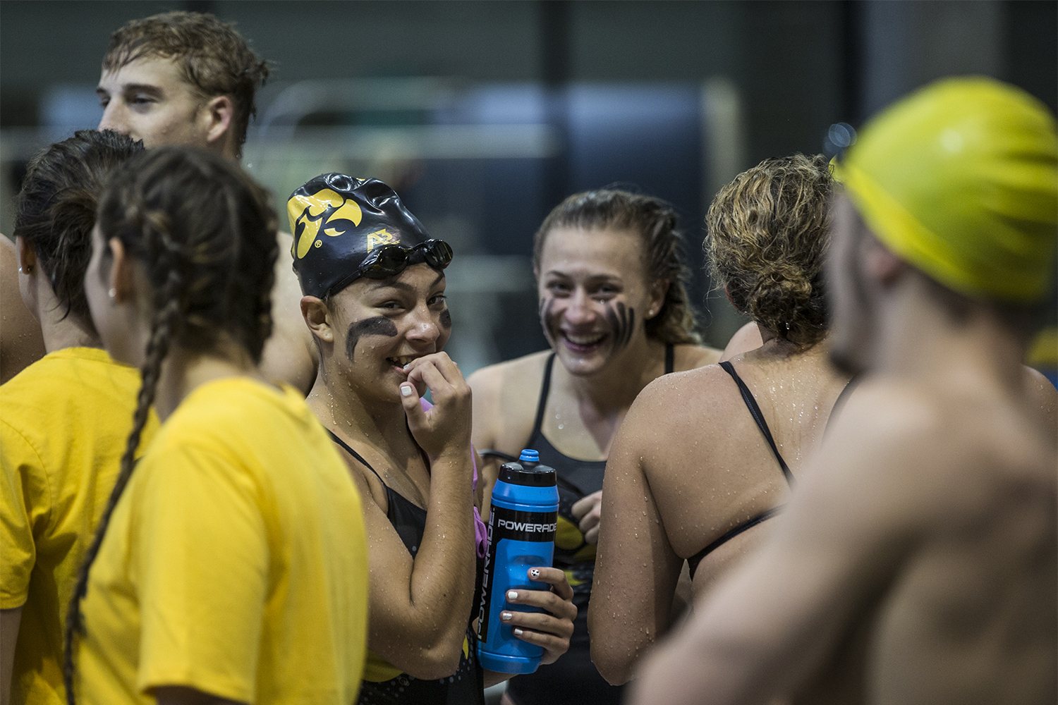 Swimmers+laugh+between+events+during+the+Iowa+Swimming+and+Diving+Intrasquad+Meet+at+the+Campus+Recreation+and+Wellness+Center+on+Saturday%2C+September+29%2C+2018.+