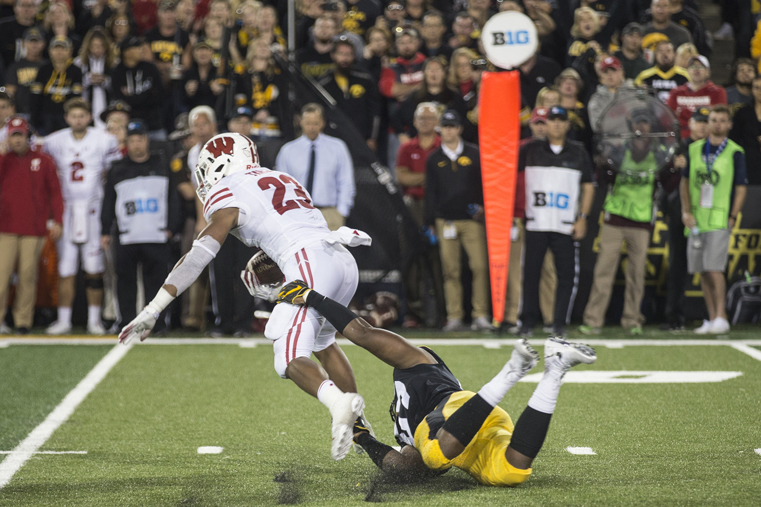 Iowa%27s+Chauncey+Golston+tackles+Wisconsin%27s+Jonathan+Taylor+during+a+football+game+between+Iowa+and+Wisconsin+on+Saturday%2C+September+22%2C+2018.+The+Badgers+defeated+the+Hawkeyes%2C+28-17.