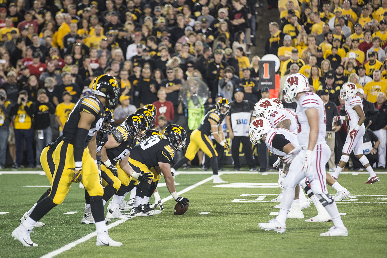 Iowa's Keegan Render prepares to snap the ball during a football game between Iowa and Wisconsin on Saturday, Sept. 22, 2018. The Badgers defeated the Hawkeyes, 28-17.