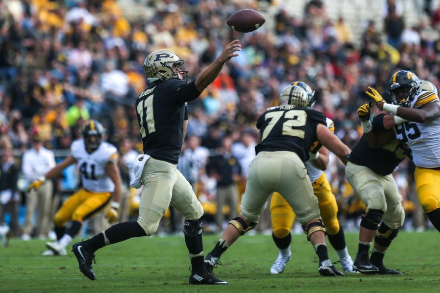Purdue quarterback David Blough throws the ball during the Iowa v. Purdue football game at Ross–Ade Stadium on Saturday, Oct. 15, 2016. The Iowa Hawkeyes beat the Purdue Boilermakers 49-35.