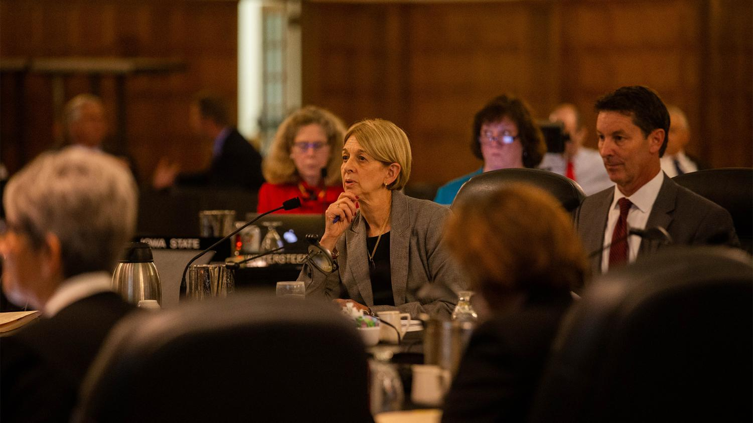 UI interim Provost Sue Curry speaks to the state Board of Regents during the Academic Affairs Committee meeting in the IMU on Wednesday, Sept. 12, 2018.