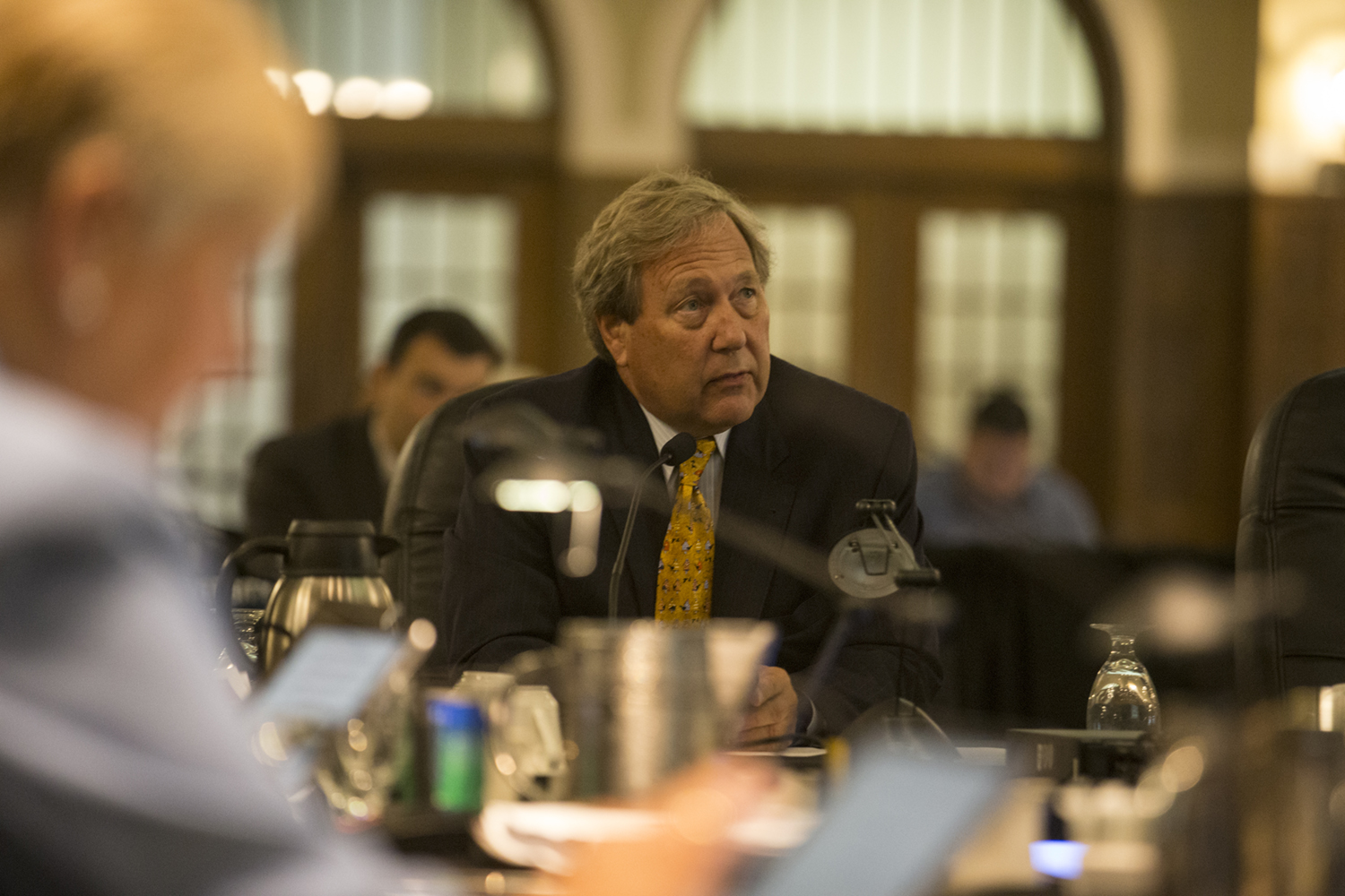 UI President Bruce Harreld delivers his announcement during the Board of Regents meeting on September 13, 2018 in the IMU Main Lounge.