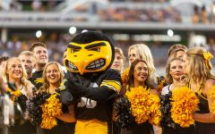 Herky the Hawk celebrates with the Iowa cheerleaders during a game against Northern Iowa at Kinnick Stadium on Saturday, Sept. 15, 2018. The Hawkeyes defeated the Panthers 38–14.