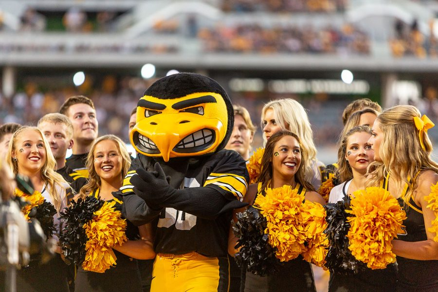 Herky+the+Hawk+celebrates+with+the+Iowa+cheerleaders+during+a+game+against+Northern+Iowa+at+Kinnick+Stadium+on+Saturday%2C+Sept.+15%2C+2018.+The+Hawkeyes+defeated+the+Panthers+38%E2%80%9314.+