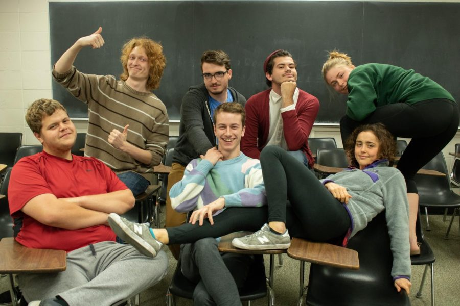 The Great White Narcs improv troupe poses for a picture on Wednesday, Sept. 26.