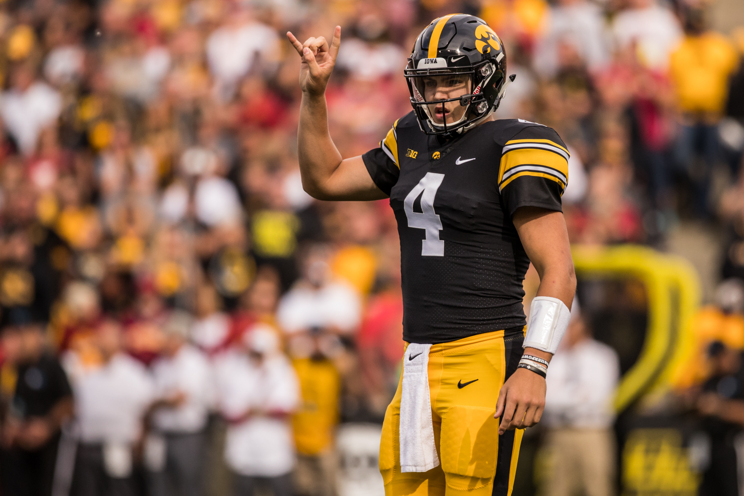 Iowa quarterback Nate Stanley signals during Iowa's game against Iowa State at Kinnick Stadium on Saturday, September 8, 2018. The Hawkeyes defeated the Cyclones 13-3.