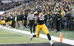 Iowa running back Akrum Wadley crosses the goal line during an Iowa/Minnesota football game in Kinnick Stadium on Oct. 28, 2017. The Hawkeyes defeated the Golden Gophers, 17-10. (Joseph Cress/The Daily Iowan)