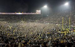 Fans storm the field on Nov. 4, 2017 after Iowa defeated Ohio State, 55-24.