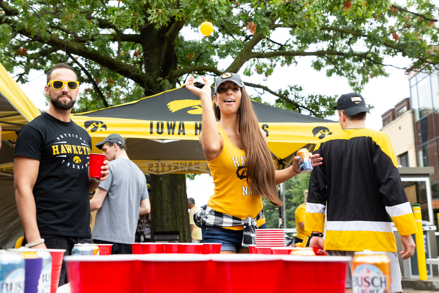 Tambel Thoma from Chicago tailgates before a football game in Iowa City on Saturday, Sept. 1, 2018.
