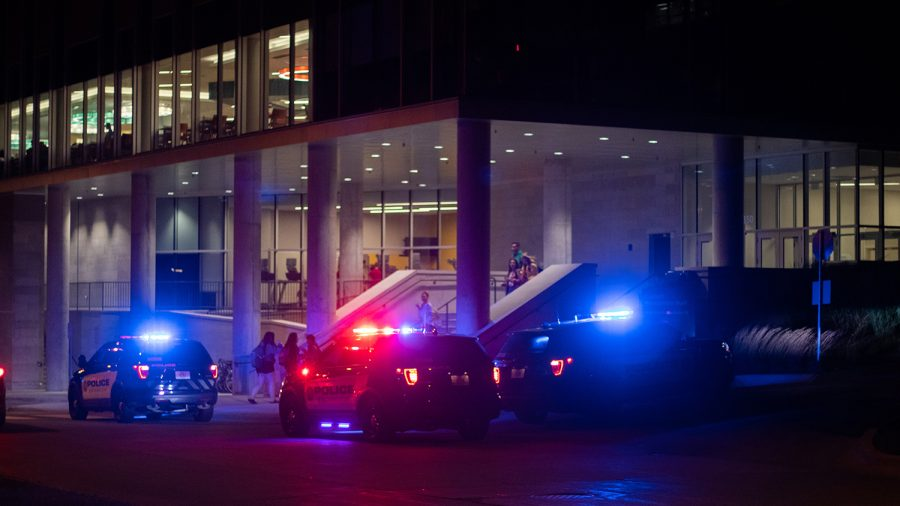 Police arrive at Catlett Residence Hall after reports were made of a man with a knife was building on Sept. 25, 2018