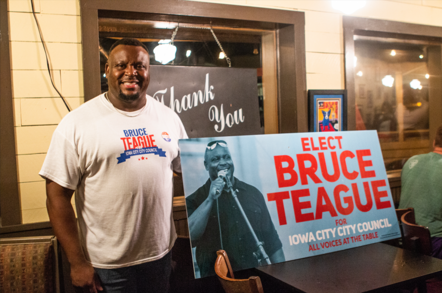 City+Council+candidate+Bruce+Teague+stands+by+his+election+sign+at+Billy%27s+High+Hat+Diner+on+Tuesday%2C+September+4%2C+2018.+Teague+received+the+second+highest+number+of+votes+overall.