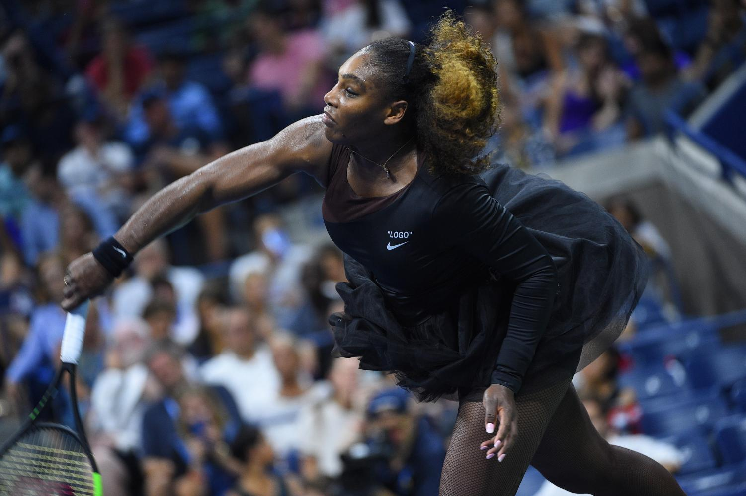 Serena Williams (USA) during her first round at the 2018 U.S. Open at Billie Jean National Tennis Center in New York City on Aug. 27, 2018. (Corinne Dubreuil/Abaca Press/TNS)