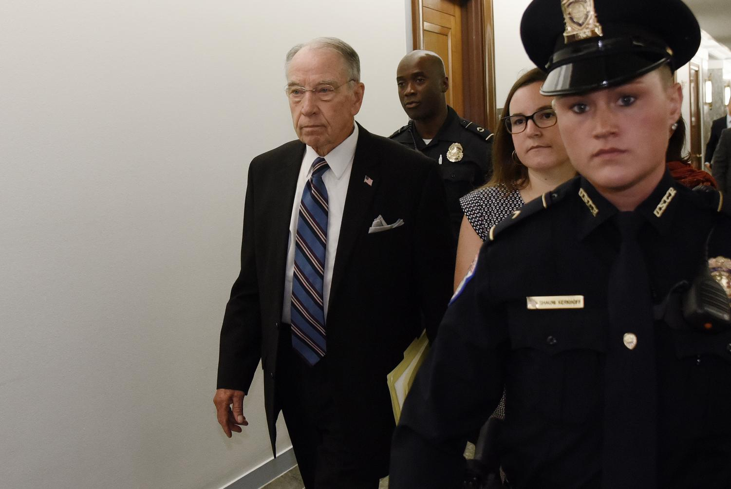 Senate Judiciary Committee Chairman Chuck Grassley arrives at the committee's hearing wihere Brett Kavanaugh and Christine Blasey Ford will testify on Capitol Hill in Washington, D.C., on Sept. 27, 2018. (Olivier Douliery/Abaca Press/TNS)