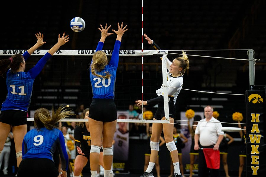 Cali+Hoye+spikes+the+ball+during+Iowa%27s+match+against+Eastern+Illinois+on+Sunday%2C+Sept.+9%2C+2018+at+Carver-Hawkeye+Arena.+The+Hawkeyes+won+the+match+3-0.