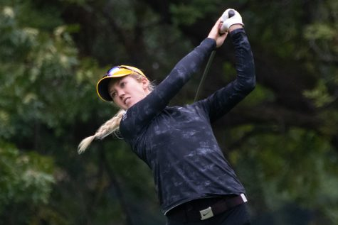 Iowa's Shawn Rennegarbe tees off during the Diane Thomason Invitational at Finkbine Golf Course on Sept. 30, 2018.The Hawkeyes placed first overall.