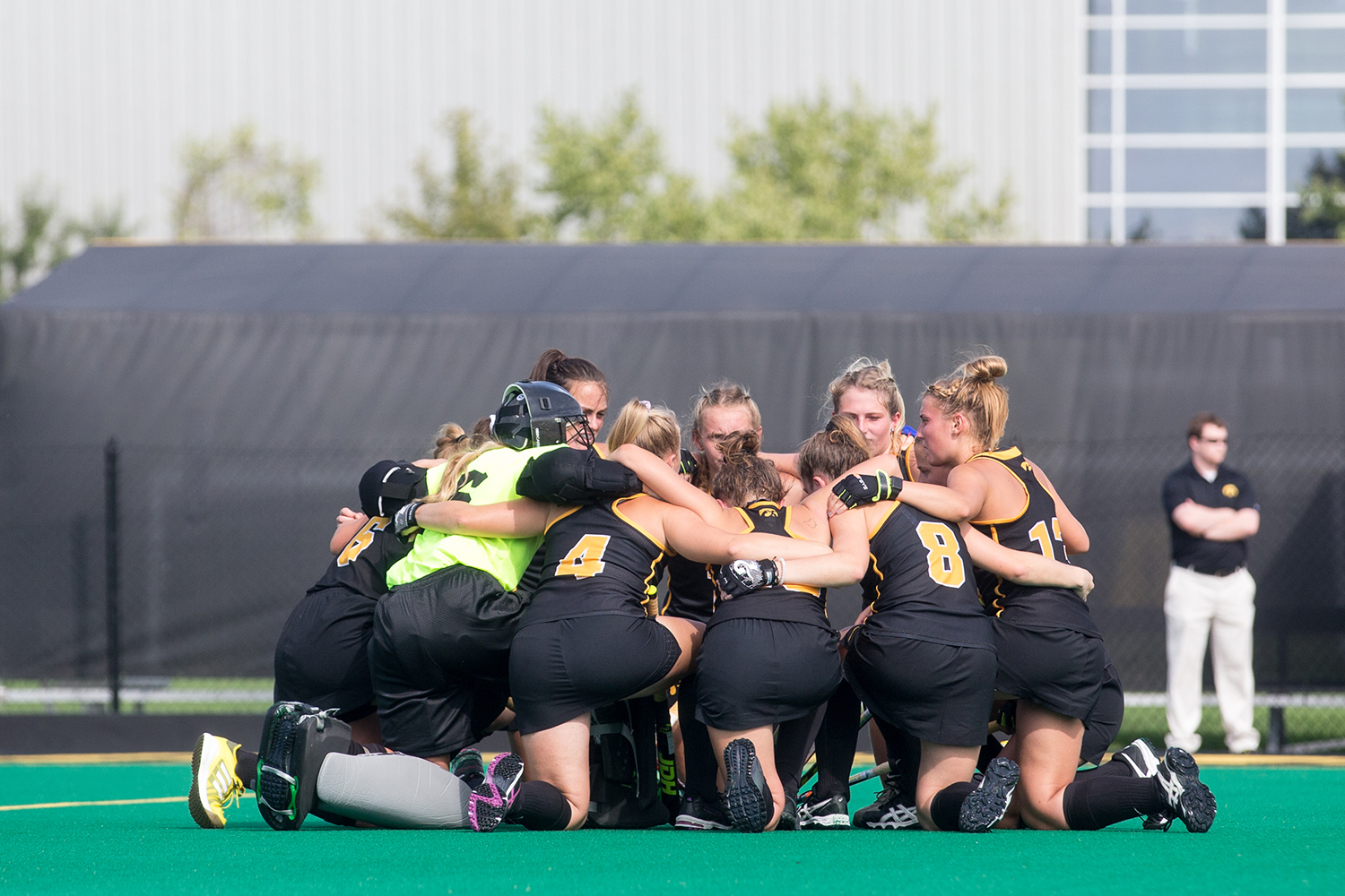 Iowa+players+huddle+during+a+field+hockey+match+between+Iowa+and+Dartmouth+College+at+Grant+Field+on+Friday%2C+August+31%2C+2018.+The+Hawkeyes+shut+out+the+Big+Green%2C+6-0.