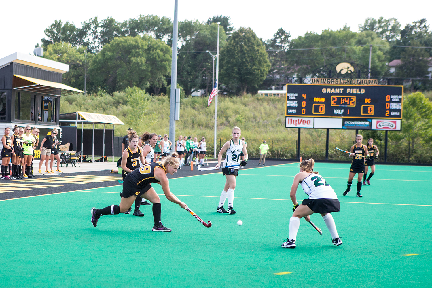 Iowa%27s+Ryley+Miller+passes+the+ball+during+a+field+hockey+match+between+Iowa+and+Dartmouth+College+at+Grant+Field+on+Friday%2C+August+31%2C+2018.+The+Hawkeyes+shut+out+the+Big+Green%2C+6-0.