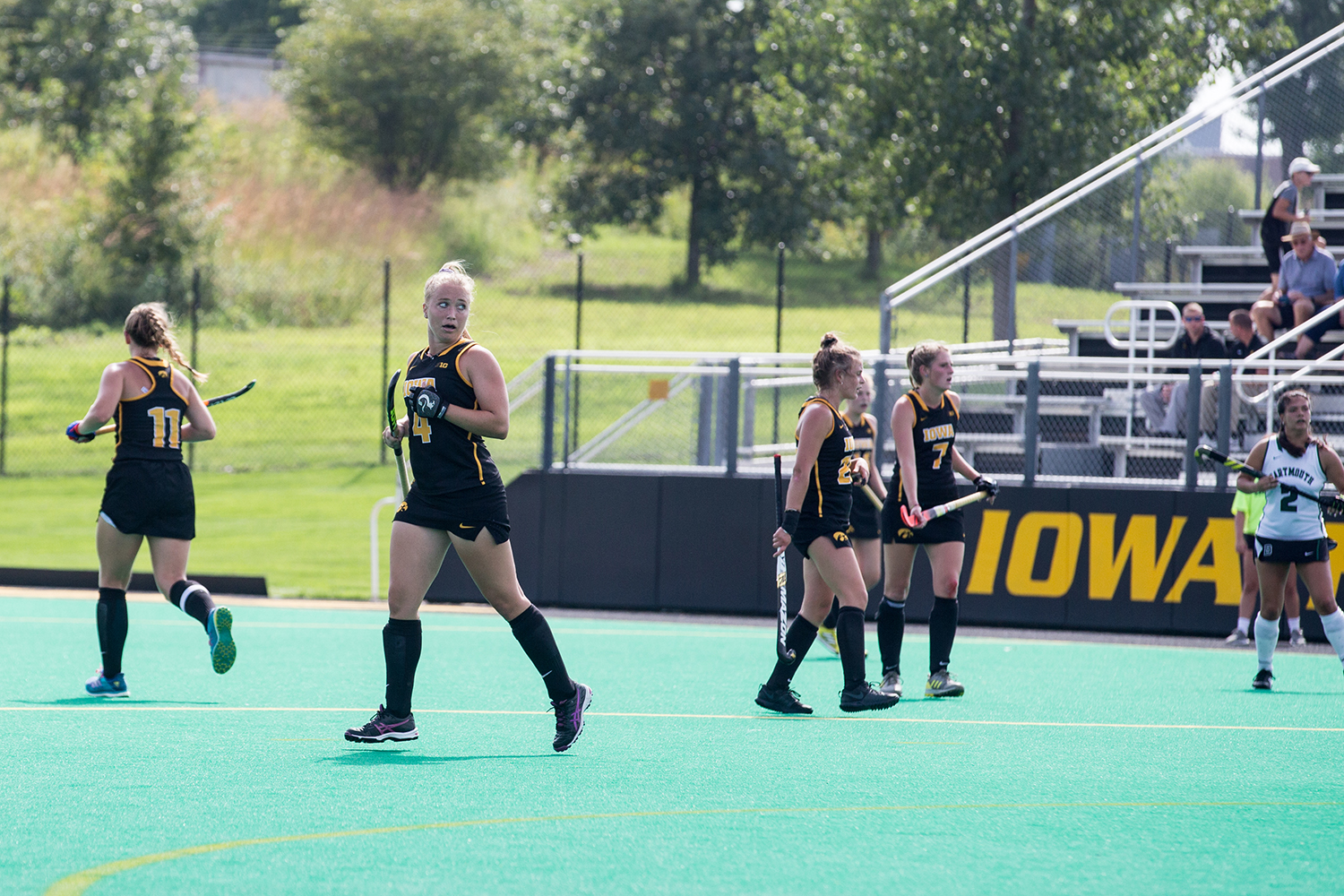 Iowa%27s+Makenna+Grewe+recovers+during+a+field+hockey+match+between+Iowa+and+Dartmouth+College+at+Grant+Field+on+Friday%2C+August+31%2C+2018.+The+Hawkeyes+shut+out+the+Big+Green%2C+6-0.