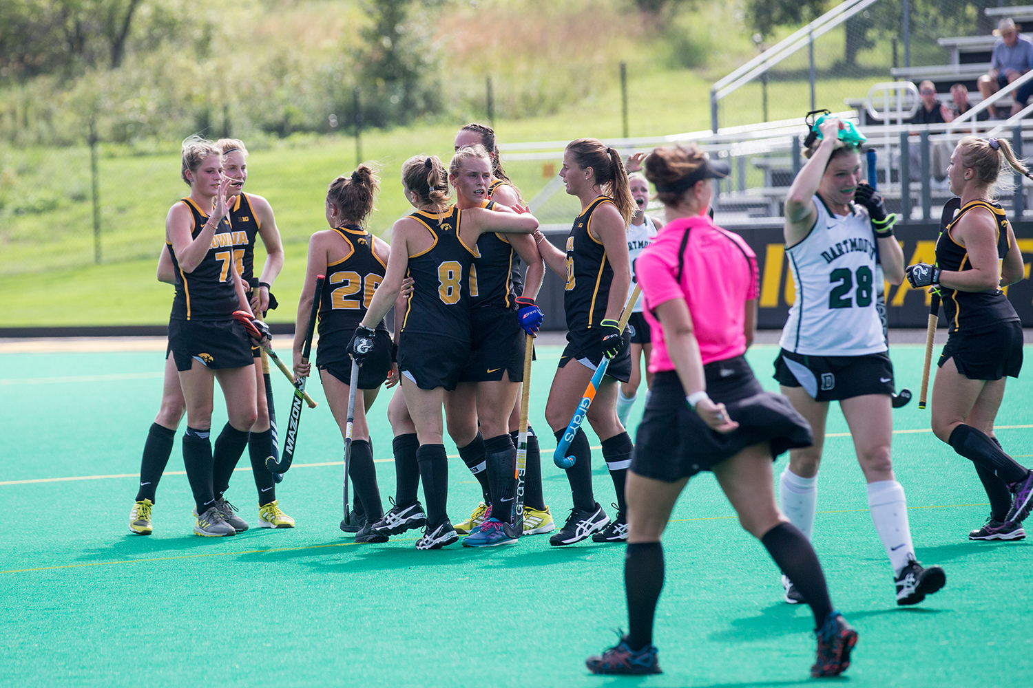 Iowa+players+celebrate+a+goal+during+a+field+hockey+match+between+Iowa+and+Dartmouth+College+at+Grant+Field+on+Friday%2C+August+31%2C+2018.+The+Hawkeyes+shut+out+the+Big+Green%2C+6-0.