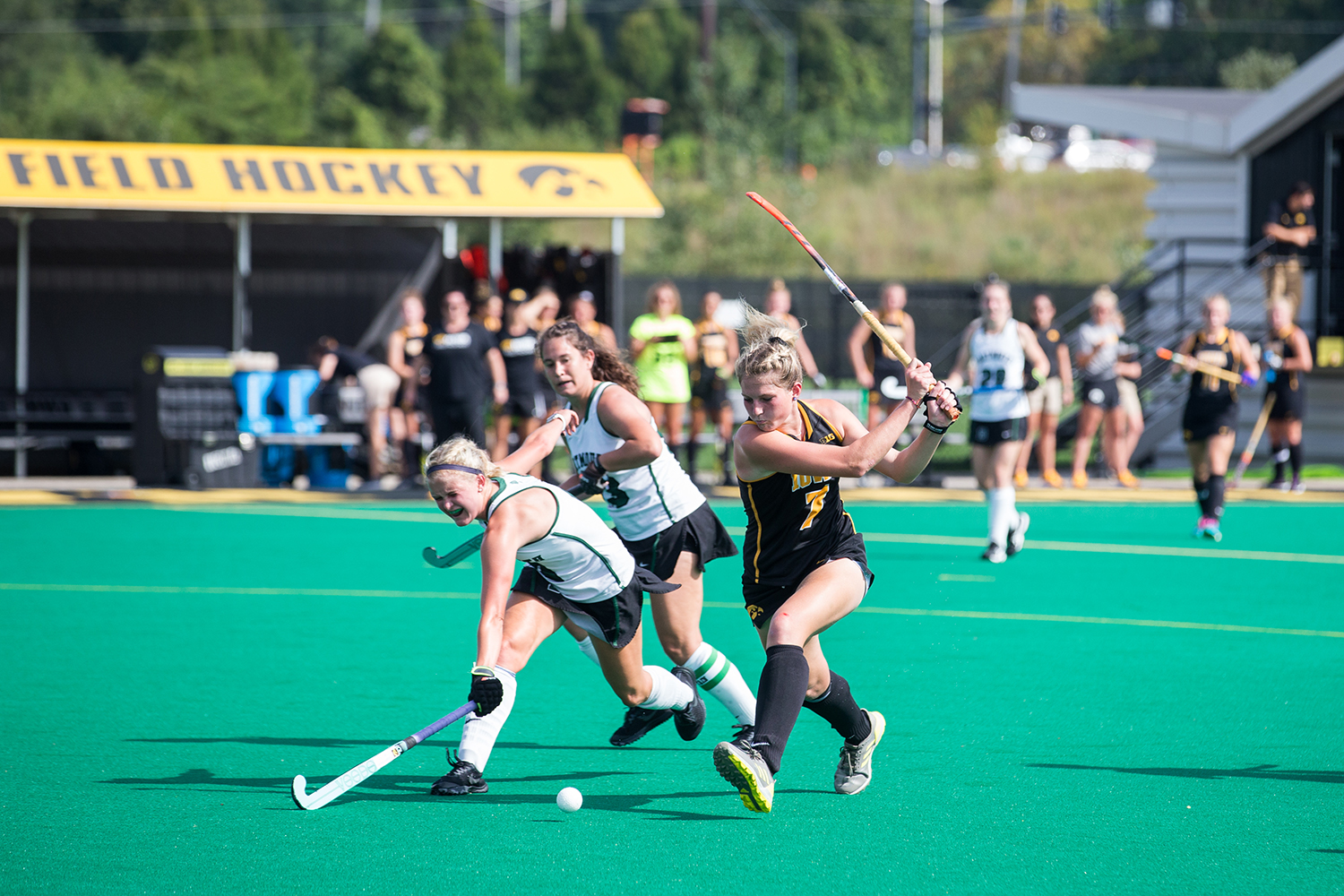 Iowa%27s+Ellie+Holley+prepares+a+shot+during+a+field+hockey+match+between+Iowa+and+Dartmouth+College+at+Grant+Field+on+Friday%2C+August+31%2C+2018.+The+Hawkeyes+shut+out+the+Big+Green%2C+6-0.