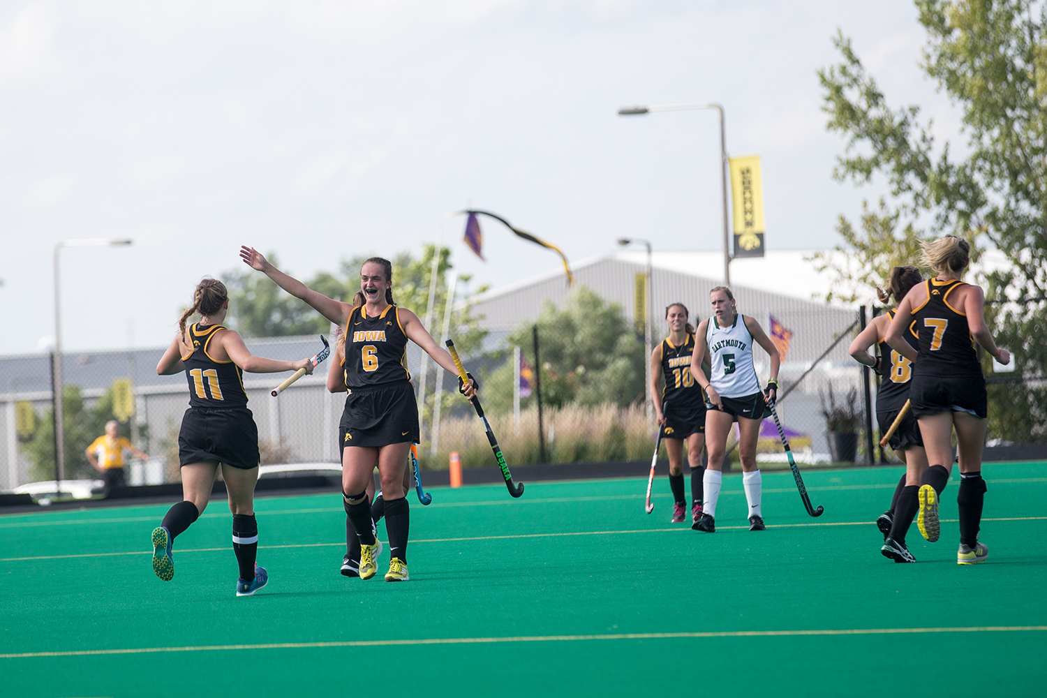 Iowa%27s+Anthe+Nijziel+celebrates+with+Katie+Birch+during+a+field+hockey+match+between+Iowa+and+Dartmouth+College+at+Grant+Field+on+Friday%2C+August+31%2C+2018.+The+Hawkeyes+shut+out+the+Big+Green%2C+6-0.