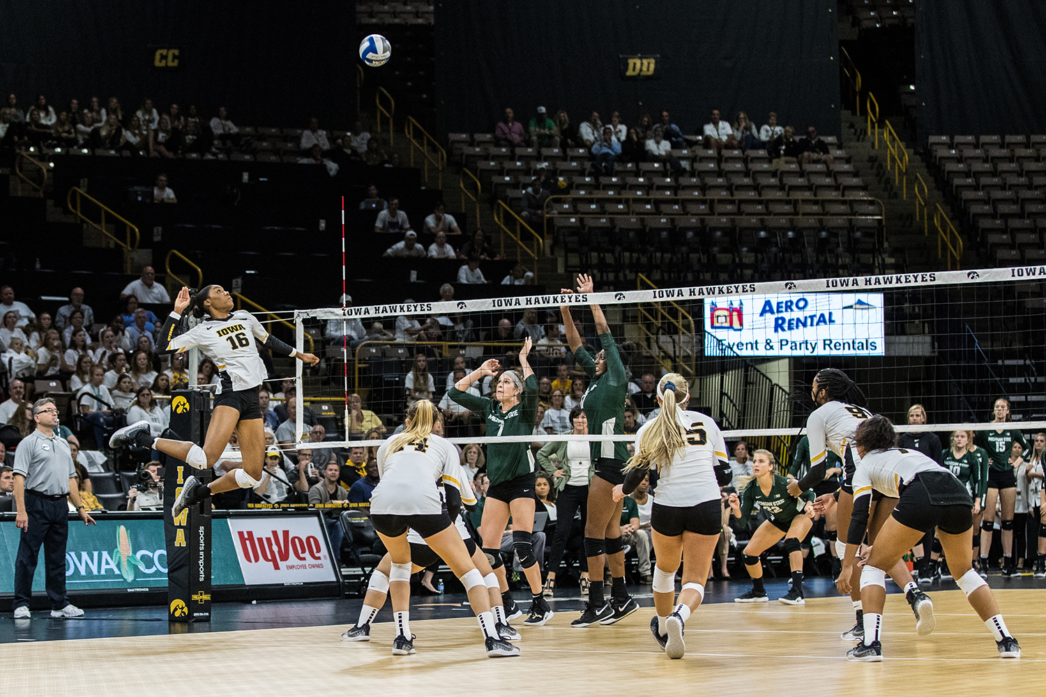 Iowa%27s+Taylor+Louis+goes+for+a+kill+during+a+volleyball+match+between+Iowa+and+Michigan+State+on+Friday%2C+Sept.+21%2C+2018.+The+Hawkeyes+defeated+the+Spartans%2C+3+sets+to+0.