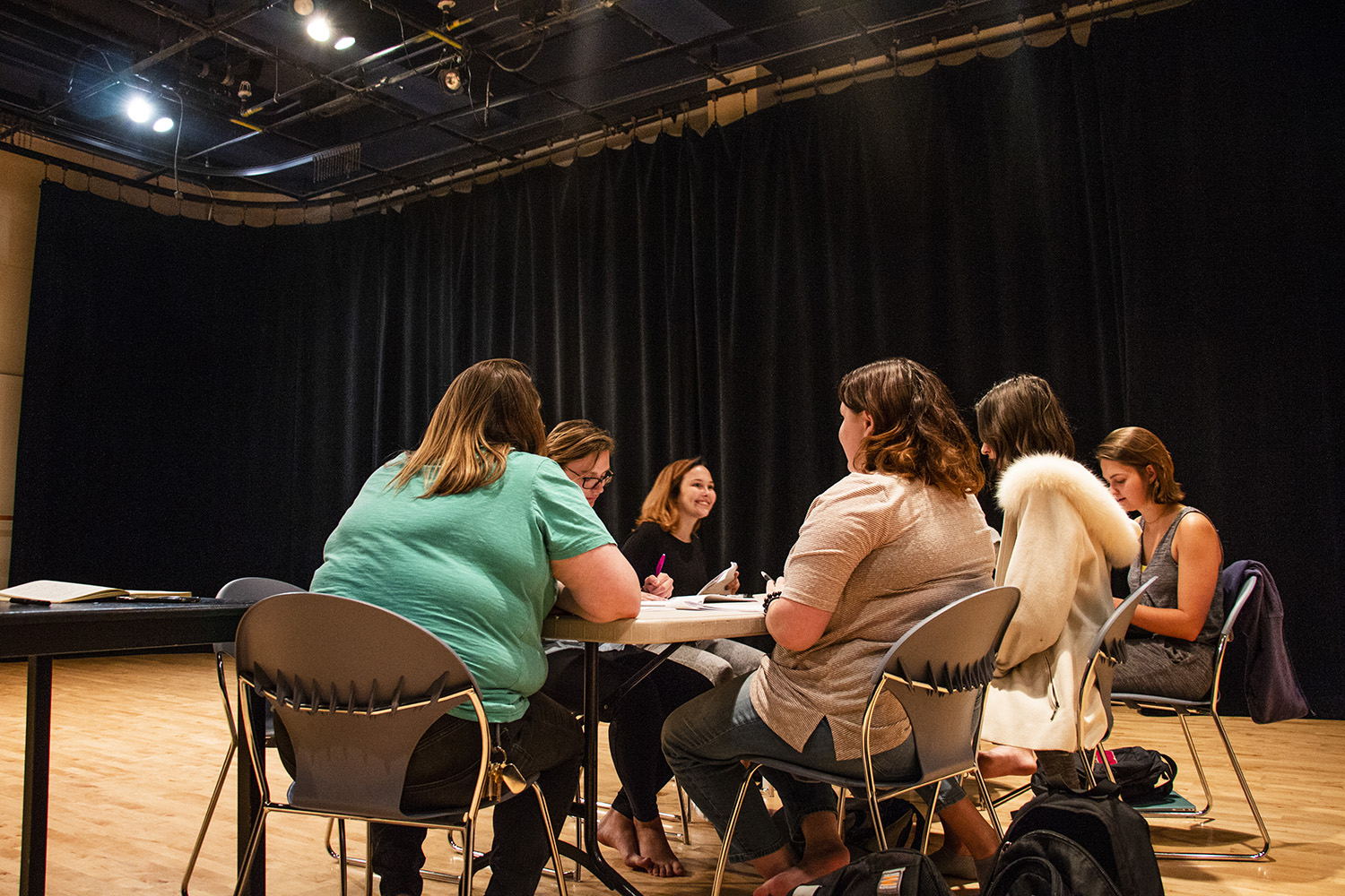 Group members of Battle Creek rehearse lines in the Theater Building on Tuesday, September 11, 2018. The plot of the play revolves around four women standing up to men who mistreated them. (Katina Zentz/The Daily Iowan)