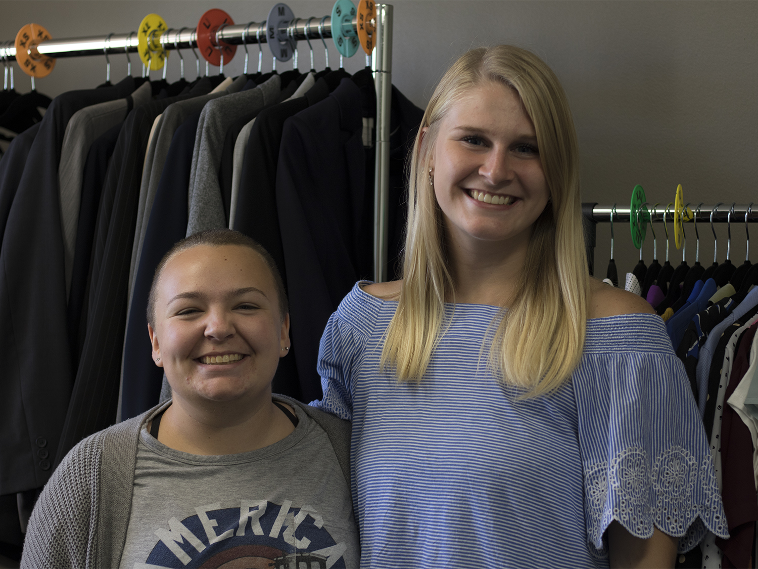 Clothing Closet marketing director Sasha Mote and executive director Lindsey Meyer pose for a portrait on Sept. 13, 2018.
