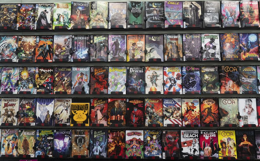 A+collection+of+comic+books+is+seen+in+Daydream+Comics+on+Tuesday%2C+Sept.+18%2C+2018.+
